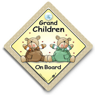 Grandchildren On Board Sign, Baby On Board Sign, Suction Cup Car Sign,