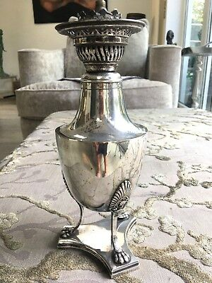 antique  silver plate small oil lamp