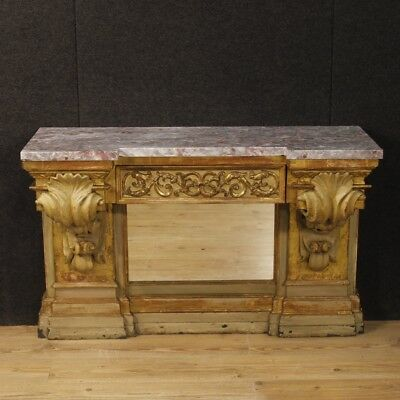 Console table furniture spanish living room wood lacquered golden marble