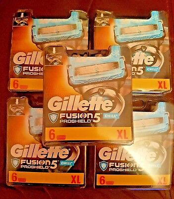 30 Gillette Fusion Proshield Chill Blades 5 X 6 Packs Genuine Uk Stock Free P+P