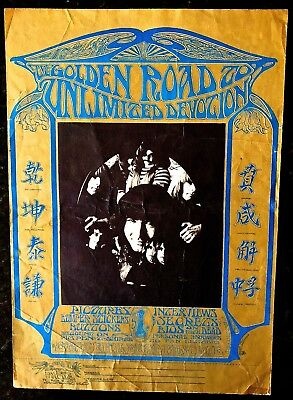 1967 Grateful Dead Golden Road Fan Club Poster Stanley Mouse Original*super Rare