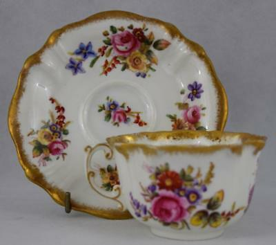 Hammersley Dresden Sprays Antique Heavy Gold Cup & Saucer  ~ English Porcelain ~