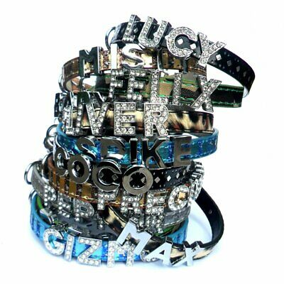 PERSONALISED NAME Army Leopard Polka Dot SAFETY CAT COLLAR Crystal Plain Letters