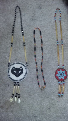 3 Beaded Necklaces Wolf Medallion Bobcat Necklace 7 Pt Cherokee Star Powwow