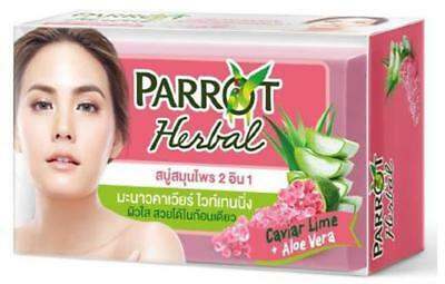 Parrot Thai Herbal Whitening Body Bar Soap Carvia Lime+Aloe Vera Skin Care 130g.