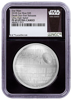 2018 Niue Star Wars Death Star UHR Domed 2 oz Silver NGC PF69 UC FR Blk SKU55164