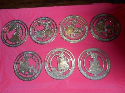 VTG Brass DAILY Trivets Plaques IT'S PLEASANT TO LABOR FOR THOSE WE LOVE 7 Days