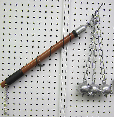 Ball & Chain Wood Handle Medieval Flail Weapon Mace 3 Spiked Balls