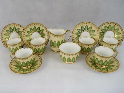 Antique Aynsley Tea~Coffee Set~Cup & Saucer~English~Porcelain~Gold Gilt~c1925