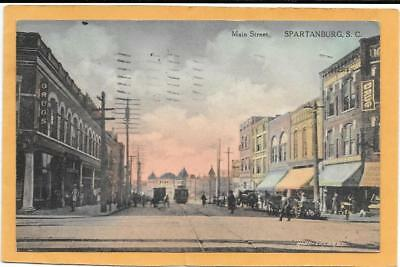 SPARTANBURG, SC SOUTH CAROLINA - Main Street - Postcard View mailed 1910 NICE