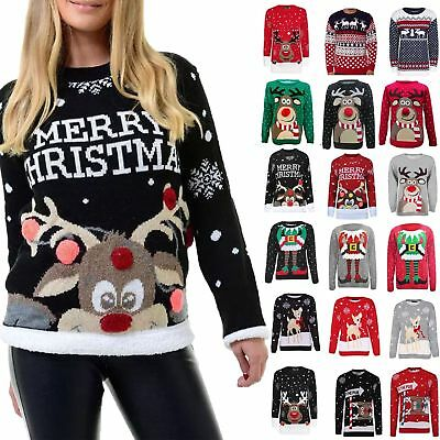 New Christmas Jumper Novelty Vintage Xmas Knitted Ladies Men's Sweater .