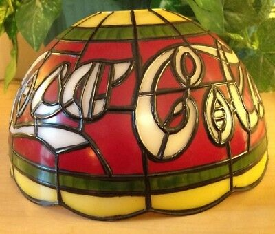 """Tiffany Style Coca-Cola Stained Glass Plastic Shade Vintage 10"""" X6"""" Red Gr White"""