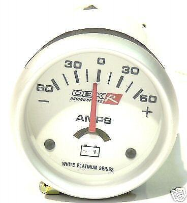 OBX Racing Sports Platinum White Face Amp Gauge 52mm