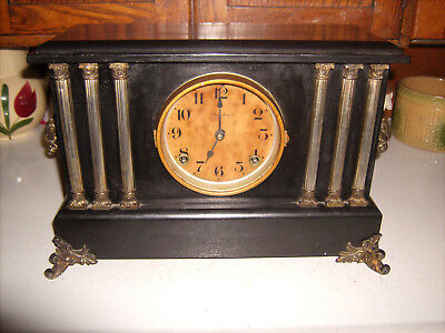 Antique Ingraham  Mantle Clock  Wood Frame  Good Repairable Condition Vintage
