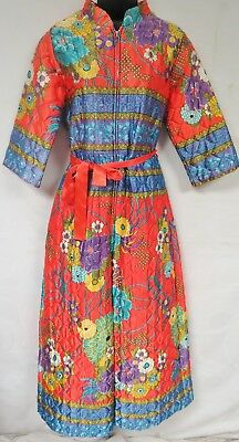 Vintage 70s Jumpsuit Hostess Mandarin Zip Quilted Psychedelic Floral Lounge Boho
