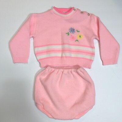 Soft Spun Baby Girl Sweater Outfit Sz 12 Months Vintage Pink 2 pc Diaper Cover