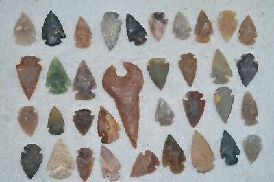 "35 PC Flint Arrowhead Ohio Collection Points 2-3"" Spear Bow Knife Hunting Blade"