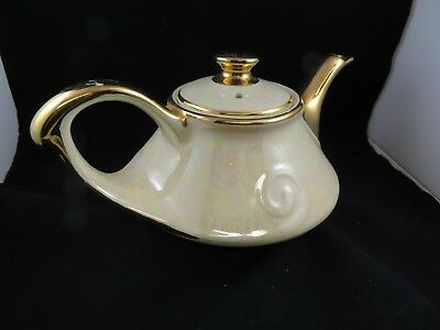Vintage Pearl China Co Teapot Hand Decorated 22 kt Gold
