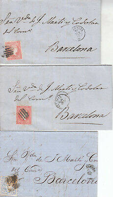 Spain - Spanien - 6 old covers from 1854 to ca 1870  (W 143)