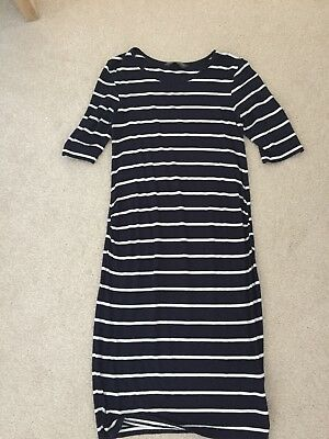 Blooming Marvellous Navy Blue & White Stripe Maternity Dress Size Small