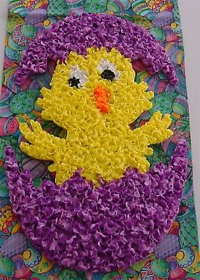 """Vintage Melted Plastic Popcorn Easter BABY CHICK 16"""" tall Clean"""