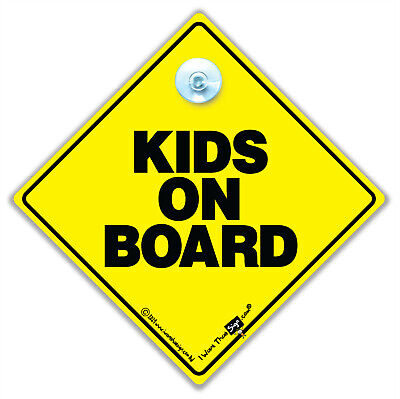Kids On Board Sign, Baby On Board Sign, Suction Cup Car Sign,