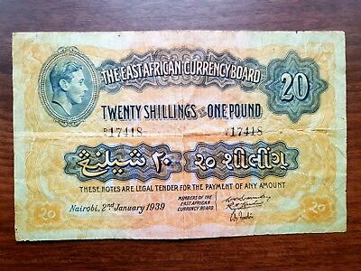 East Africa Currency Board 20 shillings 1939 banknote