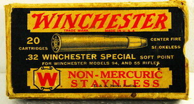 Vintage Winchester - .32 Winchester Special Cartridges - Box of 20 - EMPTY