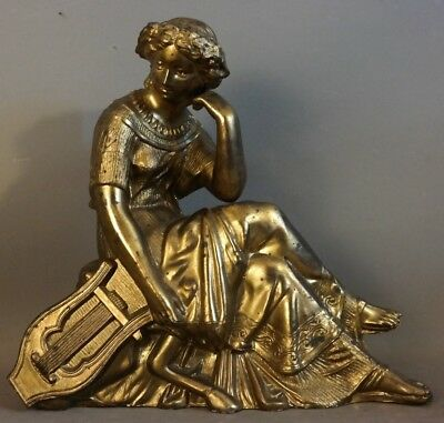 19thC Antique VICTORIAN Era BRONZED Figural LADY & HARP STATUE Old CLOCK TOPPER