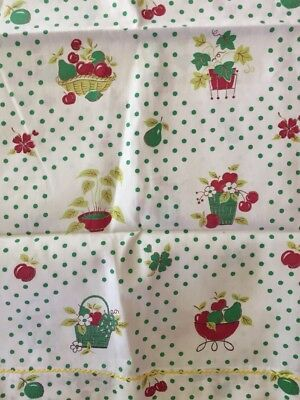 Vintage 50's Cotton Kitchen Curtains + Fabric