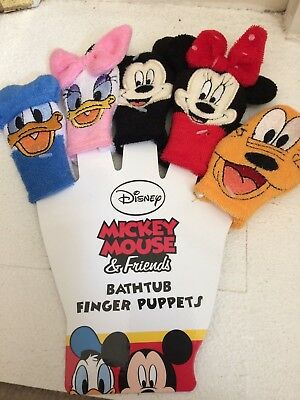 New Disney Mickey Mouse & Friends Bath Tub Finger Puppets