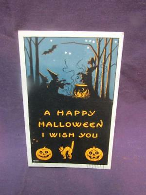 1919 Halloween Post Card.  A Happy Halloween I Wish You. Orange and Black
