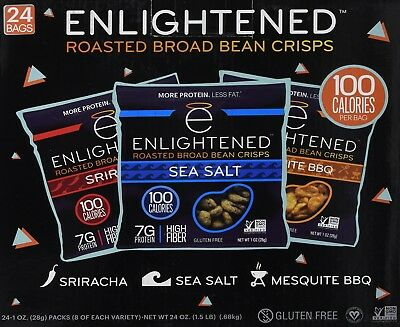 Enlightened Plant Protein Gluten Free Roasted Broad (Fava) Bean Snack, Variety