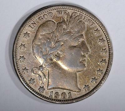 1901-S Barber Half Dollar Vf/xf Key