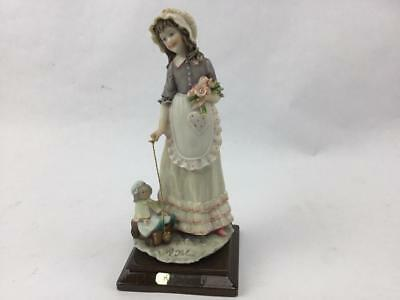 "Belcari Signed Figurine Capodimonte Girl Pulling Doll & Wagon 8"" Italy"