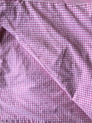 Pottery Barn Kids Gingham Chambray Reversible Twin Duvet Cover Bright Pink  EUC