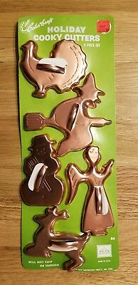 NOS 5 Pc Set COLOR CRAFT Copper Aluminum HOLIDAY Cooky Cutters Cookie USA