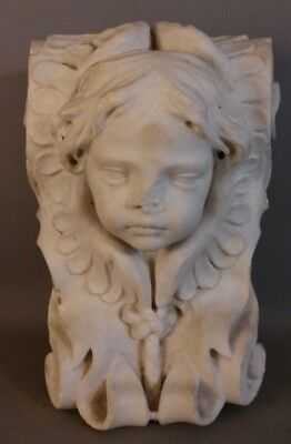 19thC Antique VICTORIAN Corbel CARVED MARBLE Figural ARCHITECTURAL PUTTI STATUE
