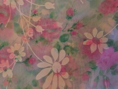 3 Yards of Vintage Sheer Pink Rose Fabric With Flocked White Daisies Flowers