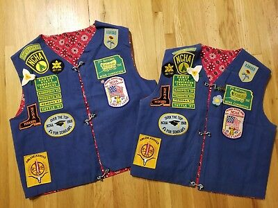 2 Vintage 1960s NCHA National Camper and Hikers Travel Vests Badge Patch RV Club