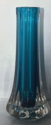 Rare Whitefriars EIGHT-SIDED VASE in KINGFISHER BLUE Pattern Number 9781
