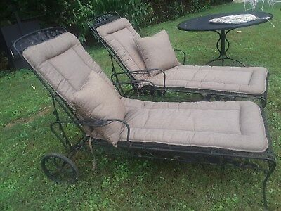Set of 2 Vintage Wrought Iron Patio Chaise Loungers with Cushions and Pillows