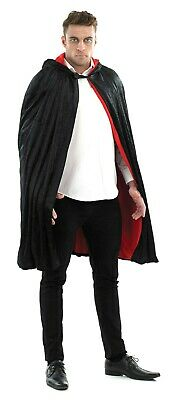 Mens Unisex Black Cape Vampire Dracula Cloak Fancy Dress Halloween Costume New