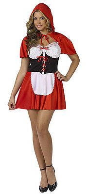 Ladies Red Riding Hood Short Dress Cape Costume Fairy Tale Maid Outfit 10-12 New