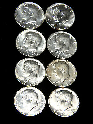 1964 - 1969 Kennedy AU/BU Half Dollar Lot of 8 coins, White Strong Luster #530S