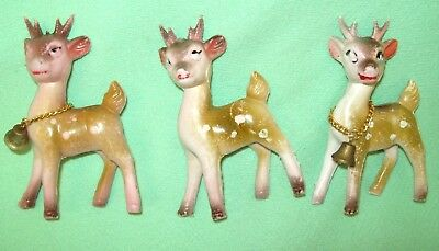 3 Vintage PINK PLASTIC Spotted Fawn Christmas DEER marked HONG KONG   2 w/ bells