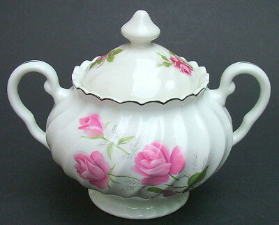 Johnson Brothers Pink Roses Pattern 2-Handle Sugar Box & Lid 16cmw Looks in VGC