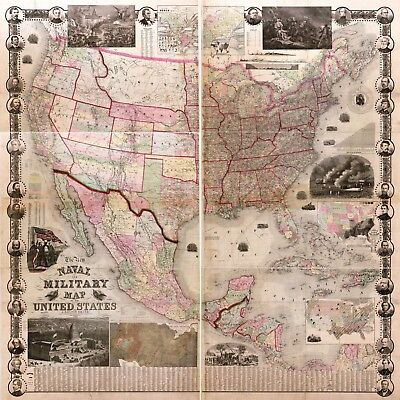 1862 Naval Military US Civil War Map History Vintage Antique Wall Decor Poster