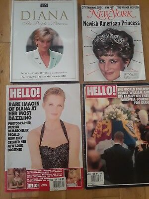 Lady Diana book and 3 magqzines