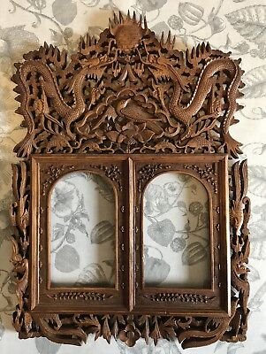 Antique 19th Century Chinese Canton Carved Wood Double Picture Frame Sold AS IS